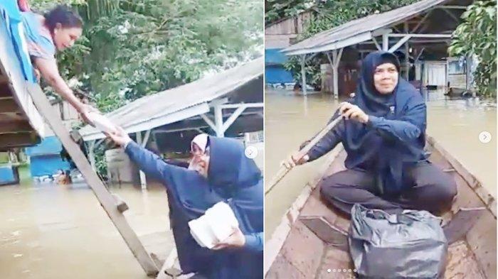 Kisah Nin, Wanita 1.000 Nasi Bungkus dari Tamiang, tak Kenal Lelah Berbagi, Hingga Menerobos Banjir