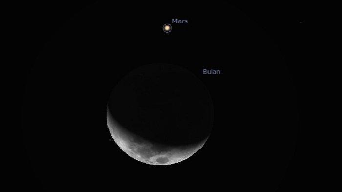 Okultasi Planet Mars dengan Bulan Bisa Dilihat di Langit Aceh Selama Satu Jam Lebih, Catat Waktunya