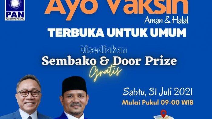 Jangan Lewatkan, Besok PAN Aceh Bagi-Bagi Sembako Untuk Warga yang Mau Ikut Vaksinasi Gratis