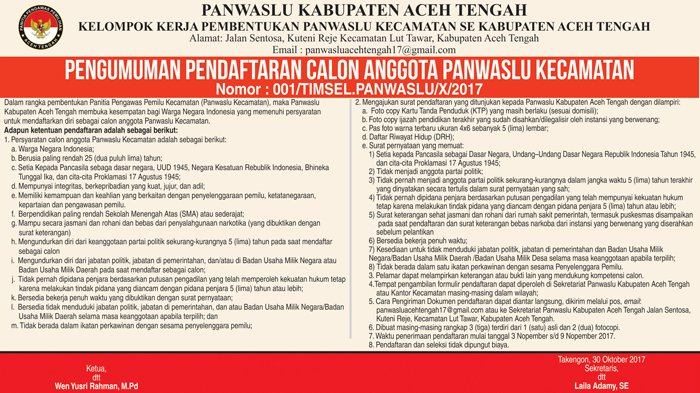 Pengumuman Pembentukan Panwaslu Kecamatan Se Kabupaten Aceh Tengah