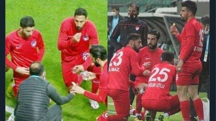 VIDEO Para Pemain Klub Liga Turki Berbuka Puasa di Lapangan, Pertandingan Dihentikan Sejenak