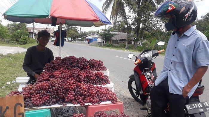 Pedagang Musiman Jual Buah Anggur Medan di Jalan Simpang Peut Nagan Raya