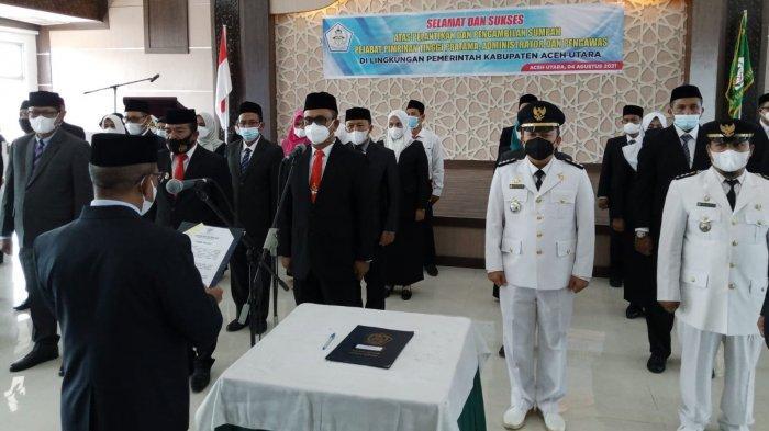 Sekda Aceh Utara Lantik Puluhan Pejabat di Kantor Bupati