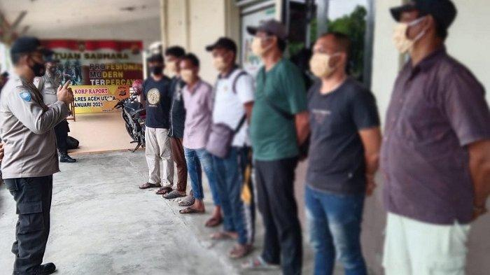 Polres Aceh Utara Amankan Tujuh Pria Terlibat Pungli Retribusi Parkir, Tiga Blok Kwitansi Disita