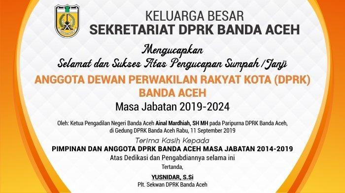 Ucapan Selamat dari Keluarga Besar Sekretariat DPRK Banda Aceh