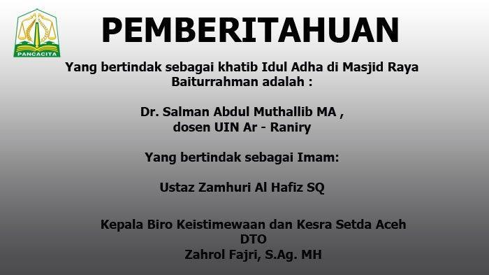 Pemberitahuan dari Pemerintah Aceh Terkait Protokol Kesehatan di Hari Raya Idul Adha