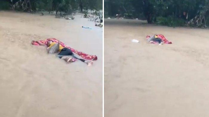 Viral Tingkah Pemuda Tidur Pulas Saat Banjir, Kasurnya Hanyut Terbawa Arus, Videonya Malah Menghibur