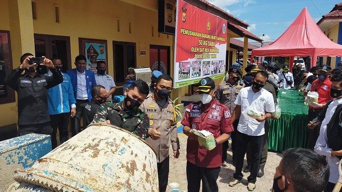 Polres Aceh Timur Musnahkan 50 Kg Sabu-sabu