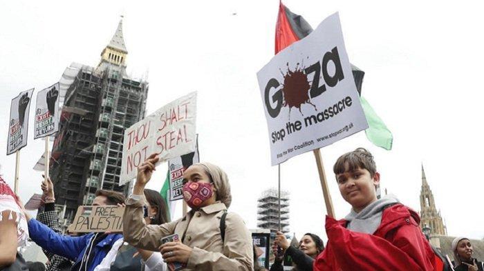 Ribuan Warga Inggris Berdemo, Kutuk Serangan Udara Israel ke Jalur Gaza