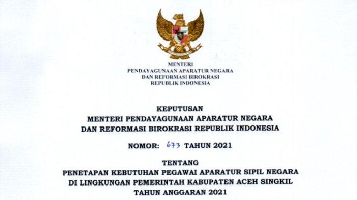 Rincian 737 Formasi CPNS & PPPK Pemkab Aceh Singkil, 18 Formasi untuk Lulusan S-1 Ekonomi Akuntansi
