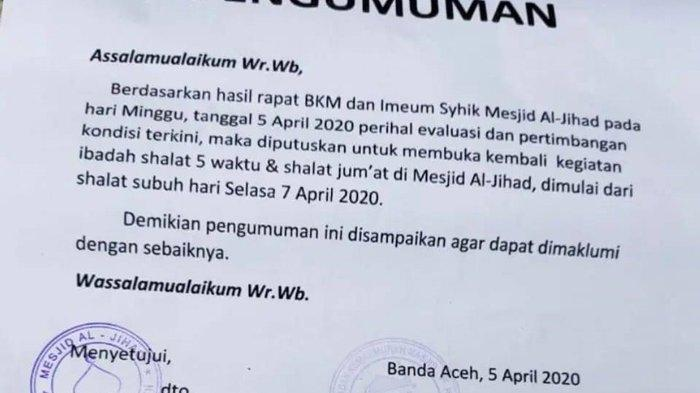 Masjid Al-Jihad Jeulingke Banda Aceh Dibuka Kembali, Ini Protokol yang Harus Diikuti Para Jamaah
