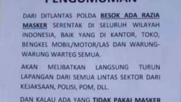 Beredar Info 'Razia Masker Serentak se-Indonesia, Ditindak di Tempat Rp 250 Ribu' Ini Kata Dirlantas