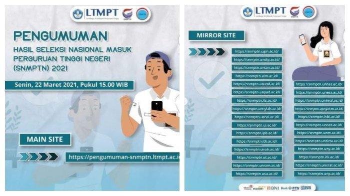 Pengumuman SNMPTN 2021, Cek Link Utama di pengumuman-snmptn.ltmpt.ac.id