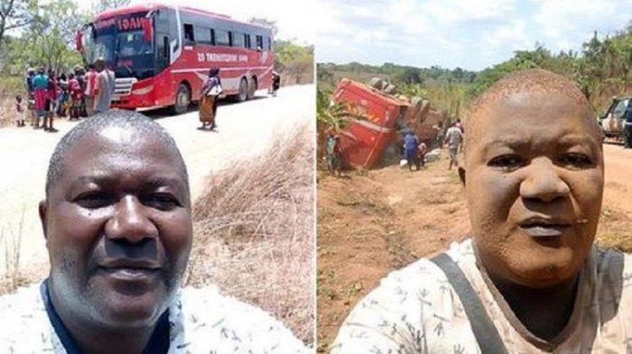 Pria ini Mendadak Viral, Sempat Selfie Sebelum dan Sesudah Bus yang Ditumpanginya Kecelakaan