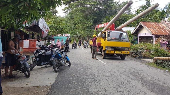 Perbaikan Tiang Tumbang Tuntas Jelang Dini Hari, Listrik di Pondok Keumuning Langsa Kembali Normal