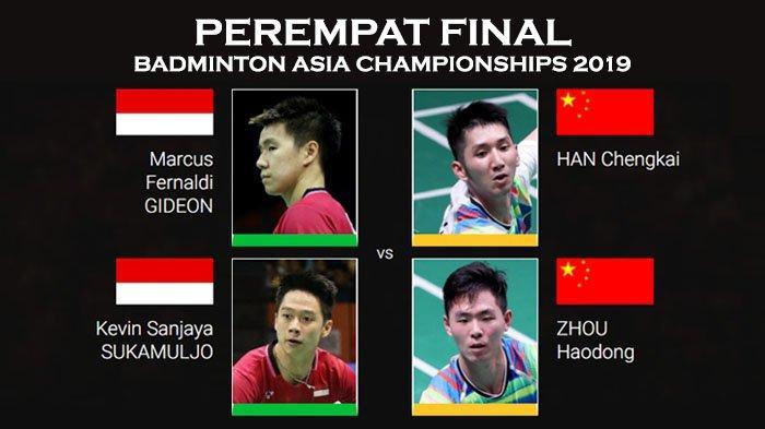 Jadwal Perempat Final Badminton Asia Championships 2019 - Marcus/Kevin Vs Han/Zhou Pukul 16.40 WIB