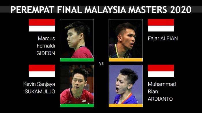 Jadwal Perempat Final Malaysia Masters 2020 - Marcus/Kevin dan Fajar/Rian Jalani Perang Saudara Ke-8