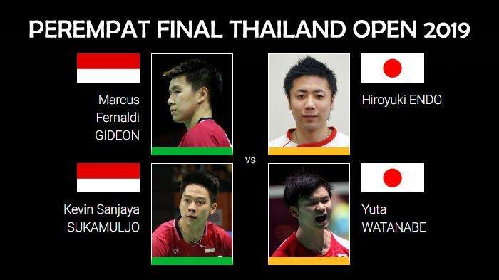 Live Streaming Perempat Final Thailand Open 2019 Mulai Pukul 13.00 WIB, Marcus/Kevin vs Endo/Yuta
