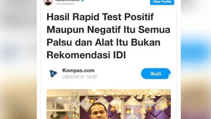 VIRAL Pernyataan IDI Makassar Sebut 'Hasil Rapid Test Palsu', Dokter Koboi Klarifikasi