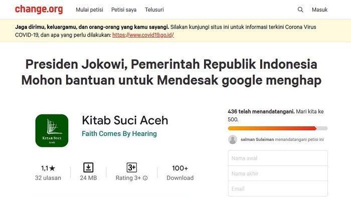 Rakyat Aceh Buat Petisi Online Minta Jokowi Hapus Aplikasi Kitab Suci Aceh di Google Play Store