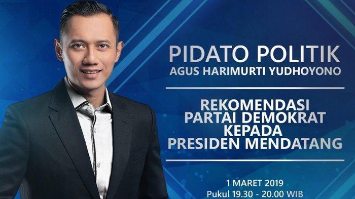 Setelah Terima Mandat SBY, Malam Ini AHY Sampaikan Pidato Politik, Live Streaming TV One Pukul 19.30