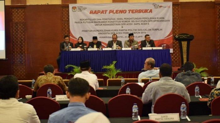 KIP Aceh Tetapkan Perolehan Kursi Anggota DPRA Hasil Pemilu 2019