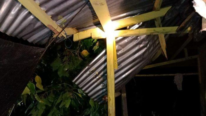 Angin Kencang Tumbangkan Pohon Kemiri Hingga Timpa 1 Rumah Warga Kuala Ceurape, Begini Kejadiannya
