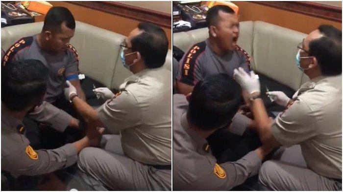 VIRAL Video Anggota Polisi Takut saat Disuntik, Netizen Meledek: Badan Kekar Takut Jarum