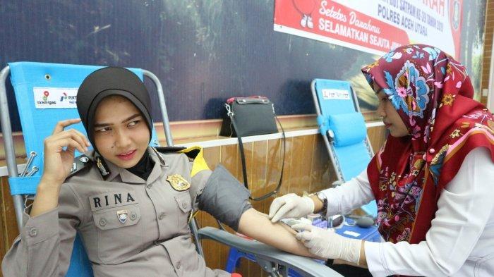 Polres Aceh Utara Kumpulkan Darah 47 Kantong,Donor Mereka Gelar Dalam Rangka HUT Ke-39 Satpam