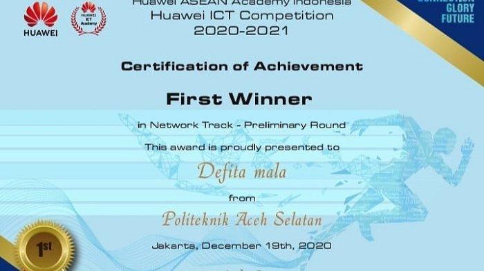 Poltas Finalis Ajang Huawei ICT Competition 2020-2021,  Regional Sumatera, Poltas Terbaik
