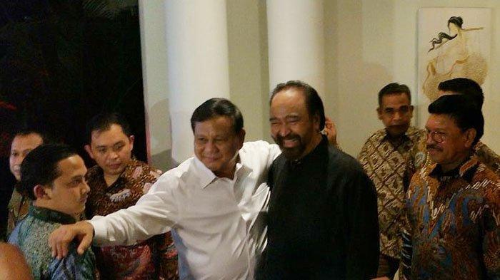 Reaksi Prabowo Subianto saat Surya Paloh Ditanya Apakah Gerindra Oposisi atau Ikut Pemerintah