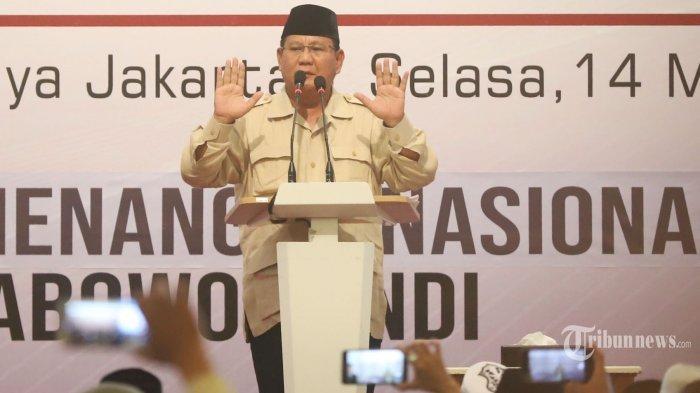 Prabowo Tetap Tolak Hasil Pilpres 2019 dan Pertanyakan Waktu Pengumuman yang Dinilai Janggal
