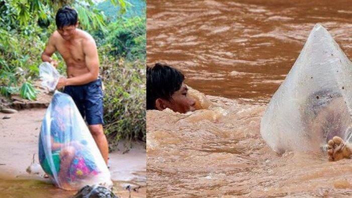 Viral Medsos! Pria Seberangi Derasnya Arus Sungai Sambil Bawa Anak Sekolah yang Dibungkus Plastik