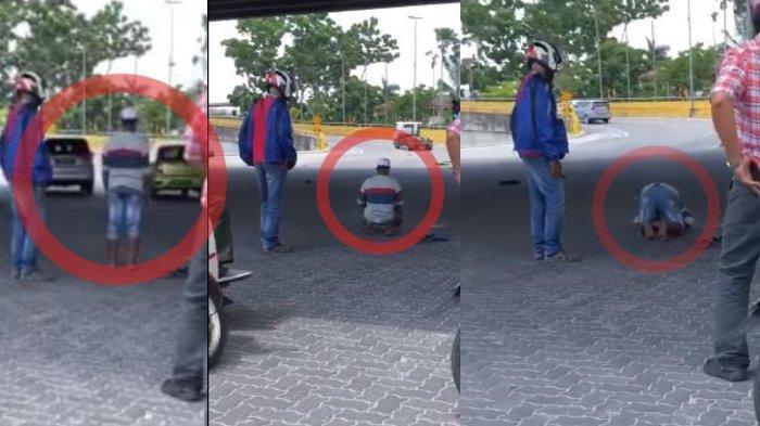 Pria Khusyuk Shalat di Bawah Flyover, Pengendara Rela Berhenti untuk Berjaga & Mengatur Lalu Lintas