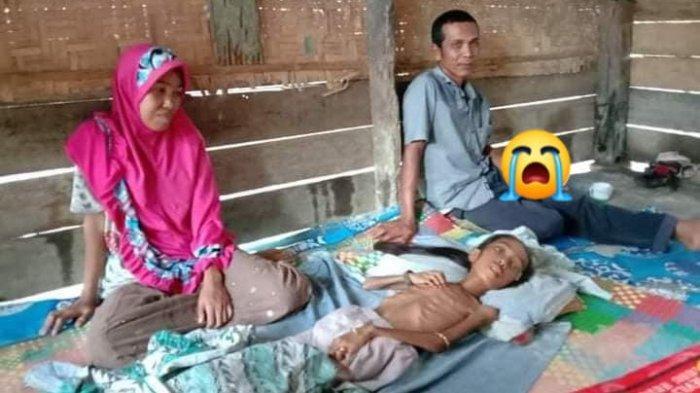 Putri Aura (11) warga Desa Meunasah Trieng, Kecamatan Lhoksukon, Kabupaten Aceh Utara