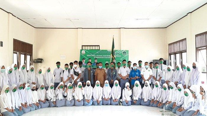 IPNU Aceh Sosialisasikan Pencegahan Covid-19 ke Siswa SMKN 1 Trumon Timur