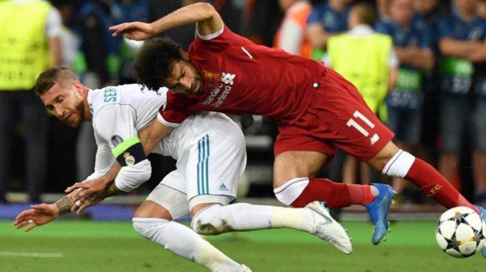 Wasit tak Hukum 'Aksi Gulat' Sergio Ramos yang Membanting Mohamed Salah