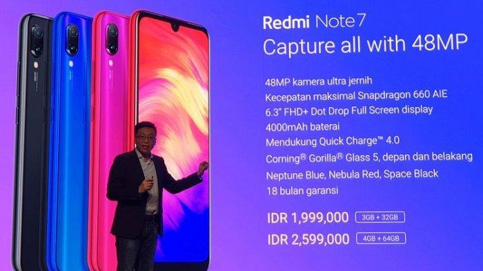 Diresmikan Xiaomi, Harga Redmi Note 7 di Indonesia Mulai Rp 1.999.000, Kamera 48 Megapiksel
