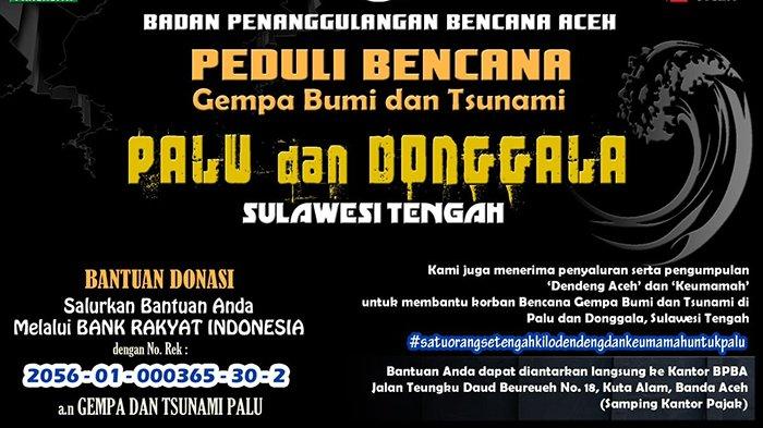 Donasi Aceh untuk Palu Telah Capai Rp 3,1 Miliar, Setujui Masukan dan Saran Supaya Dibangun Masjid