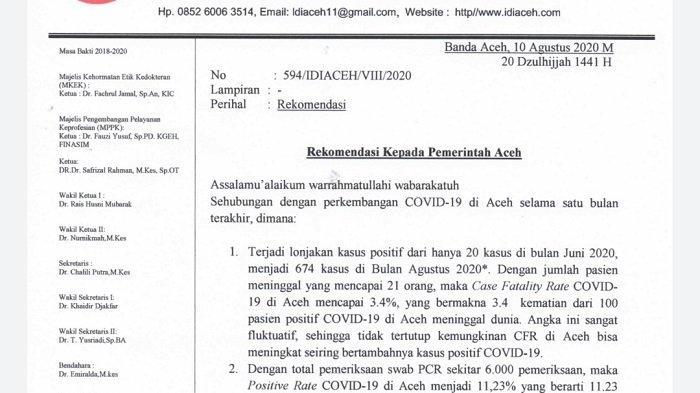 Kasus Covid-19 Terus Meningkat, IDI Aceh Rekomendasi Pemerintah Aceh Berlakukan PSBB