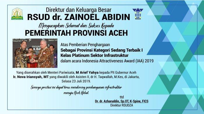 Ucapan Selamat dari RSUD dr. ZAINOEL ABIDIN