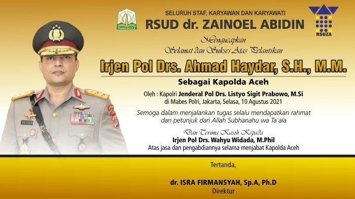RSUD dr. Zainoel Abidin Mengucapkan Selamat Atas Pelantikan Kapolda Aceh