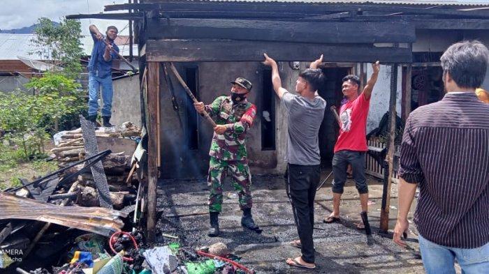 Satu Rumah Warga di Bener Meriah Terbakar, TNI dan Polri Turut Berjibaku Padamkan Api