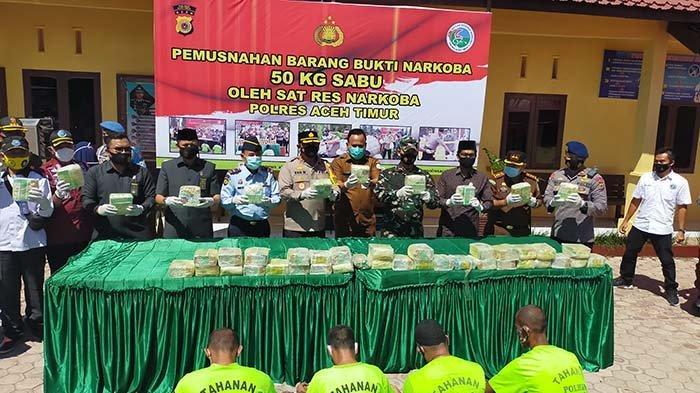 Kronologi Polisi Tangkap 4 Pemasok Sabu 50 Kg Ke Aceh Timur, Dimusnahkan Dalam Mesin Aduk Beton