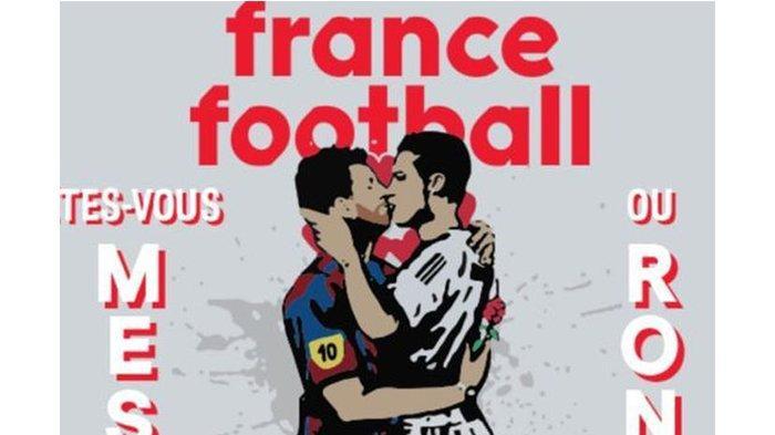 Heboh! Sampul Majalah Prancis Tampilkan Mural Messi dan Ronaldo Berciuman