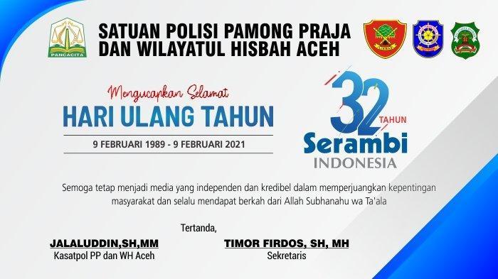 Ucapan Selamat HUT ke-32 Serambi Indonesia dari Satpol PP dan WH Aceh