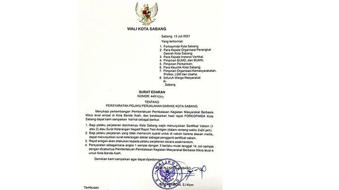 Surat Edaran Wali Kota Sabang