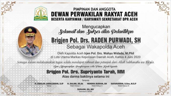 Ucapan Selamat dan Sukses Atas Pelantikan Wakapolda Aceh dari DPRA