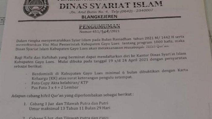 Semarakkan Ramadhan, DSI Gayo Lues Gelar Musabaqah Hifzil Quran, Ini Cabang yang Diperlombakan