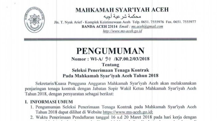 Mahkamah Syar Iyah Aceh Buka Seleksi Penerimaan Tenaga Kontrak Ini Persyaratan Dan Cara Mendaftar Halaman 3 Serambi Indonesia